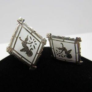 Jewelry - Vintage Siam Sterling Silver Clip On Earrings